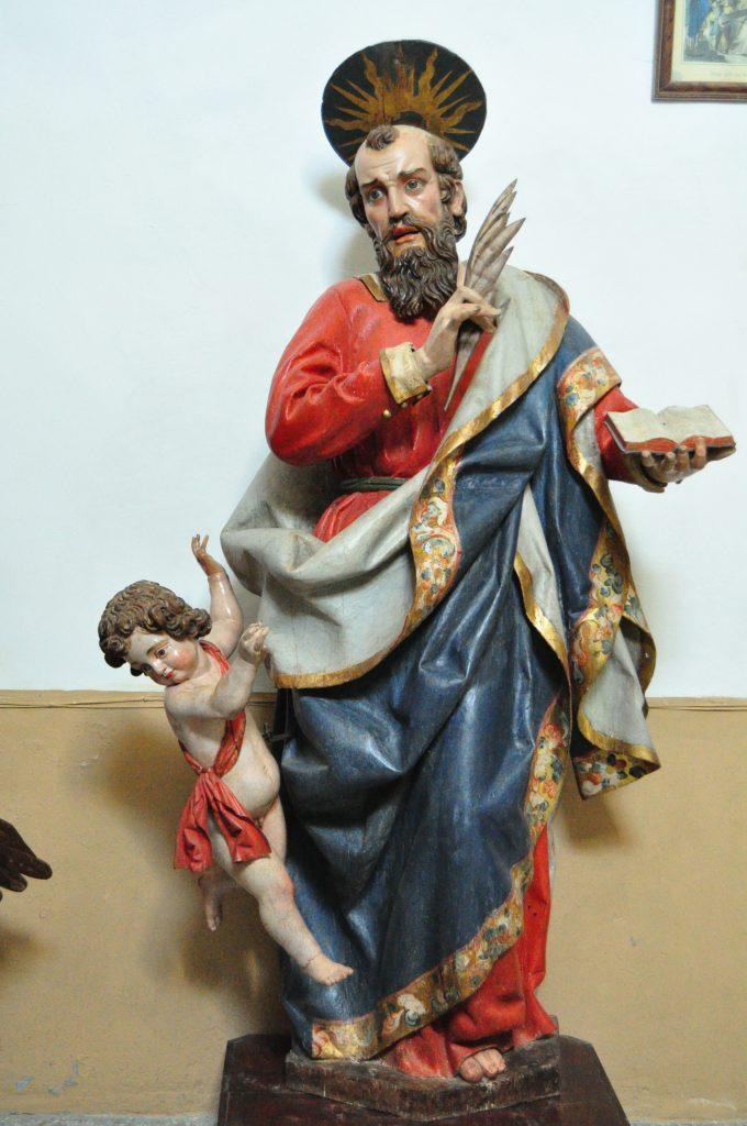 Grande y bella imagen del evangelista San Mateo, procedente de la capilla del palacio de los Marqueses de Prdo, ahora en la iglesia de Renedo de Valdetuéjar-