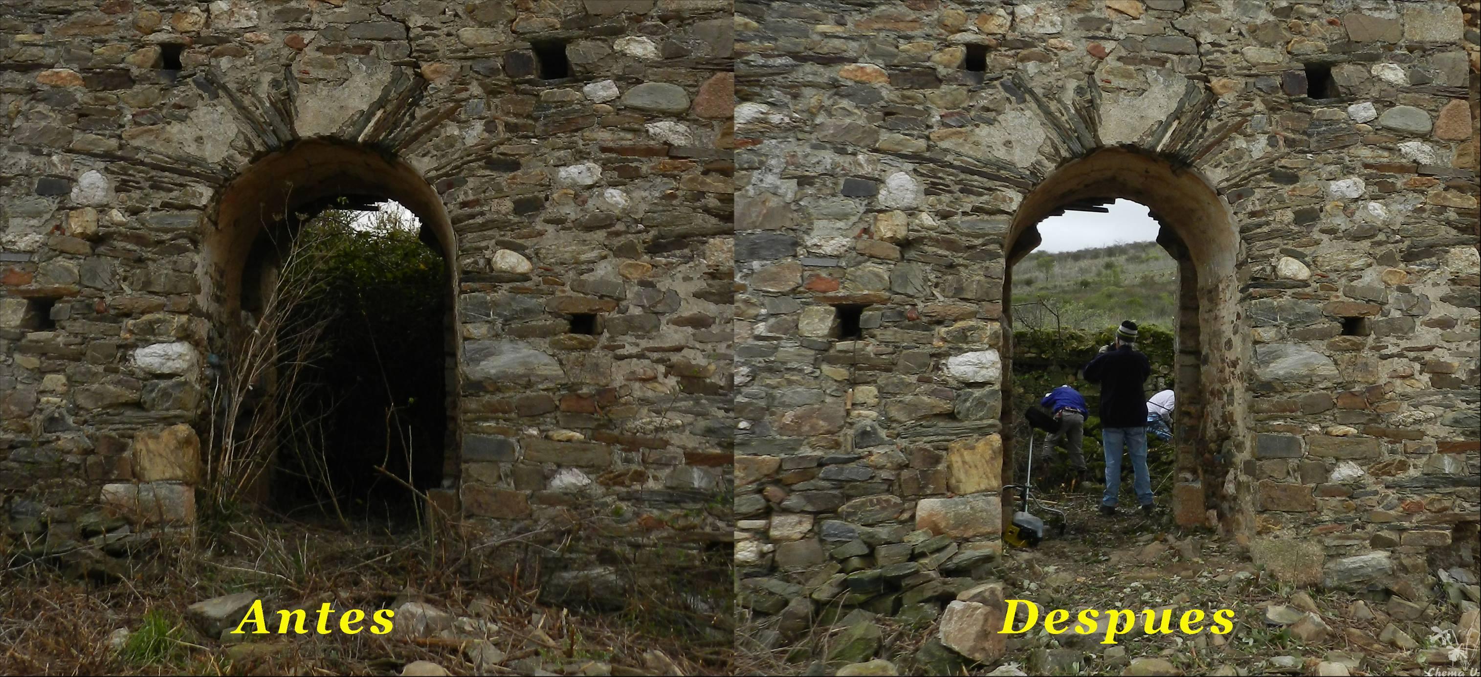 Antes y después desde la puerta de acceso a la ermita. Foto: Chema Vicente