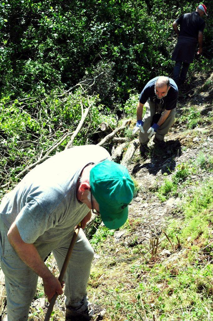 Cortando ramas y troncos que cerraban el paso.