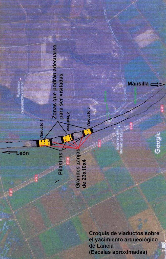 La autovía y sus tres viaductos sobre Lancia.