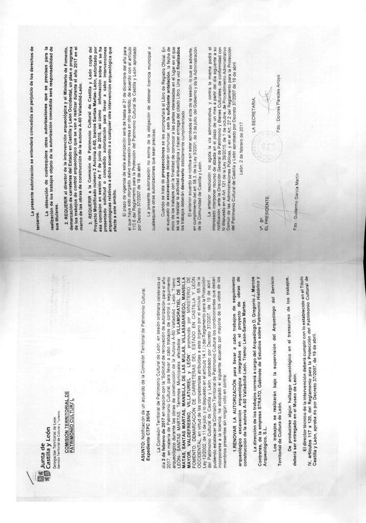Acuerdo de la Comisión Territorial de Patrimonio relativo a supervisiones y trabajos arqueológicos