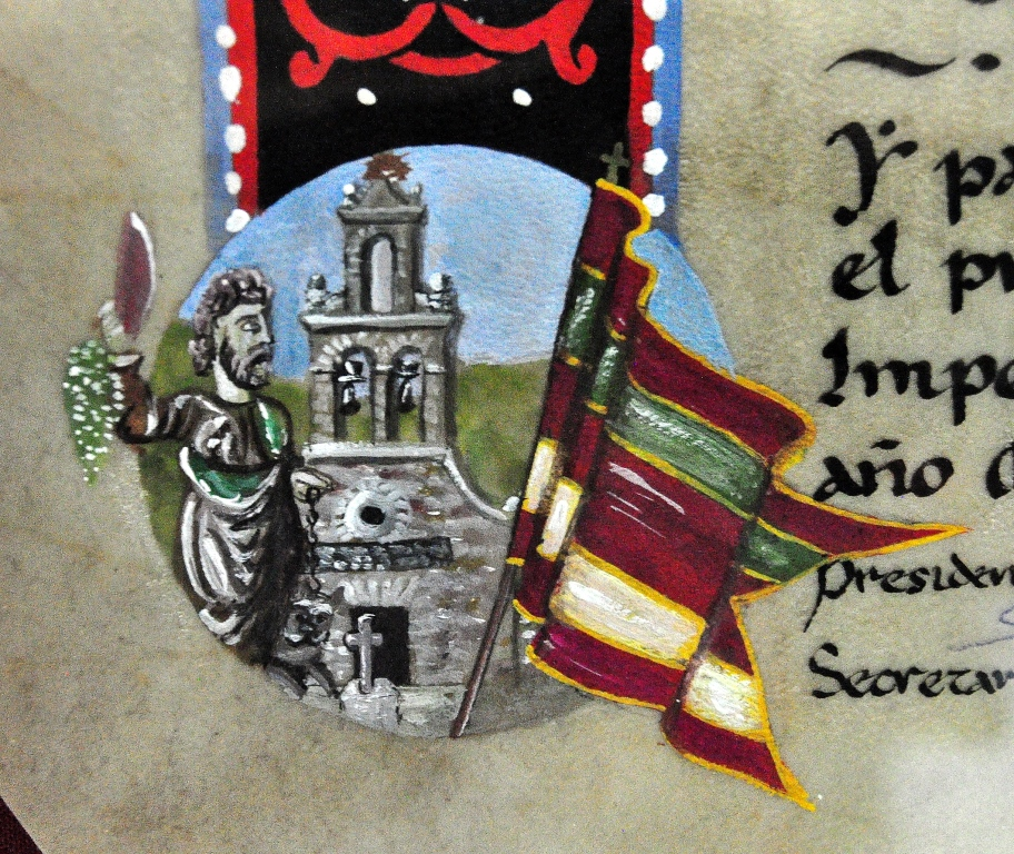 Detalle de la orla del pergamino de Valdefrancos, con su pendón, la iglesia y la imagen del patrón San Bartolo. (Pergamino Gordón El Escribano).