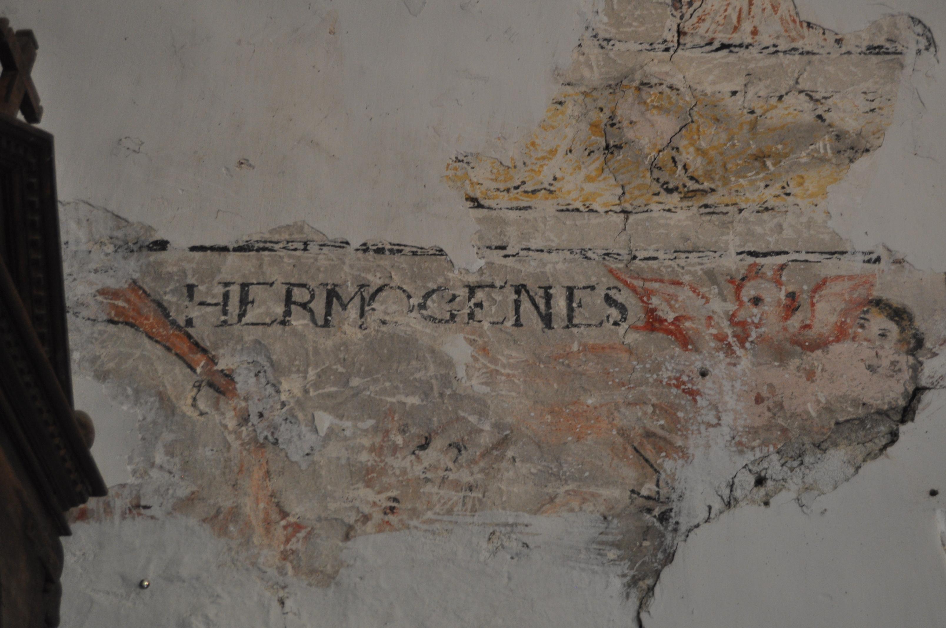 Detalle de las pinturas murales que afloran en la iglesia de Chana.