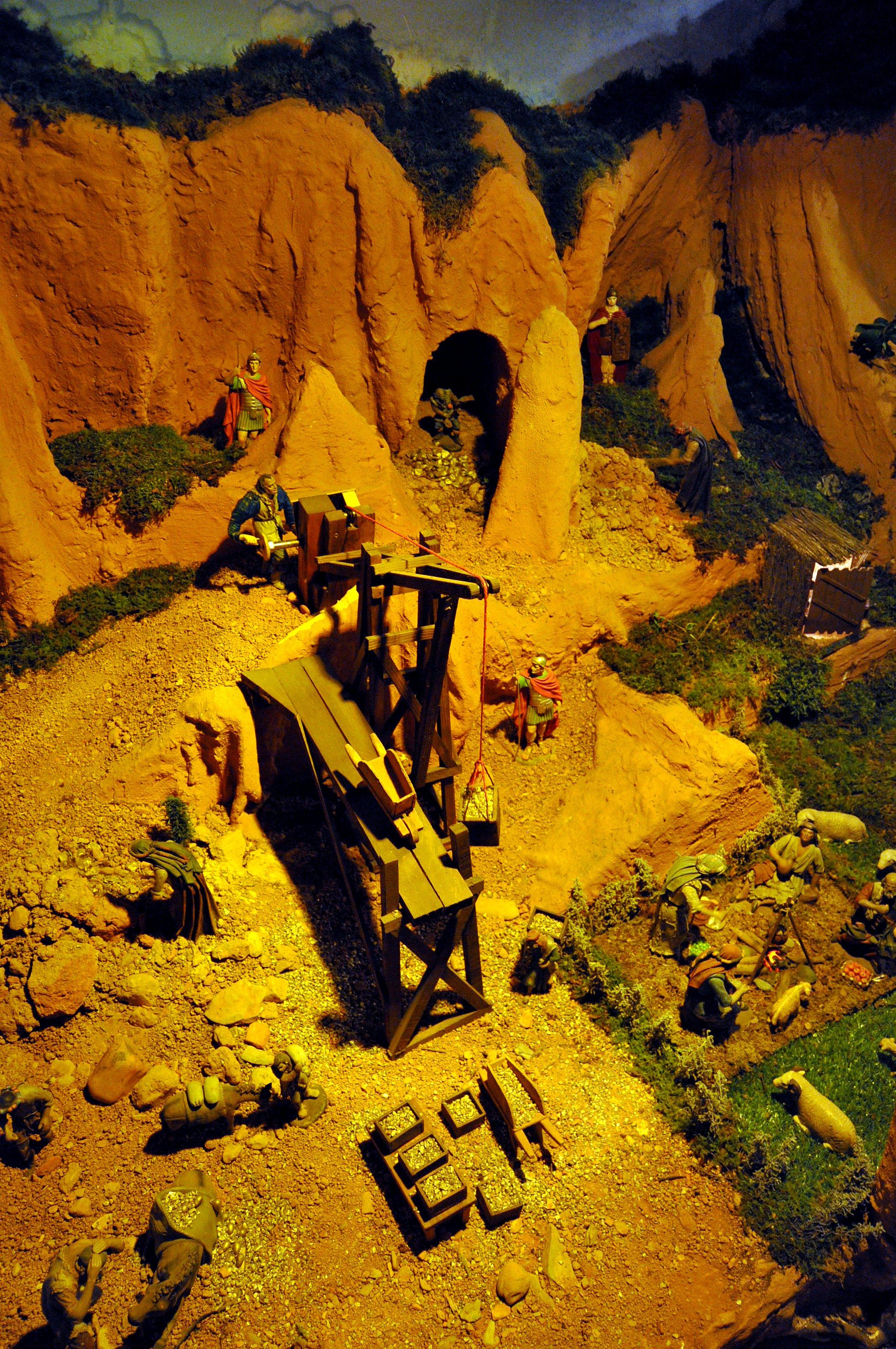 Villaverde de la Abadía. Escena de Las Médulas extrayendo oro.