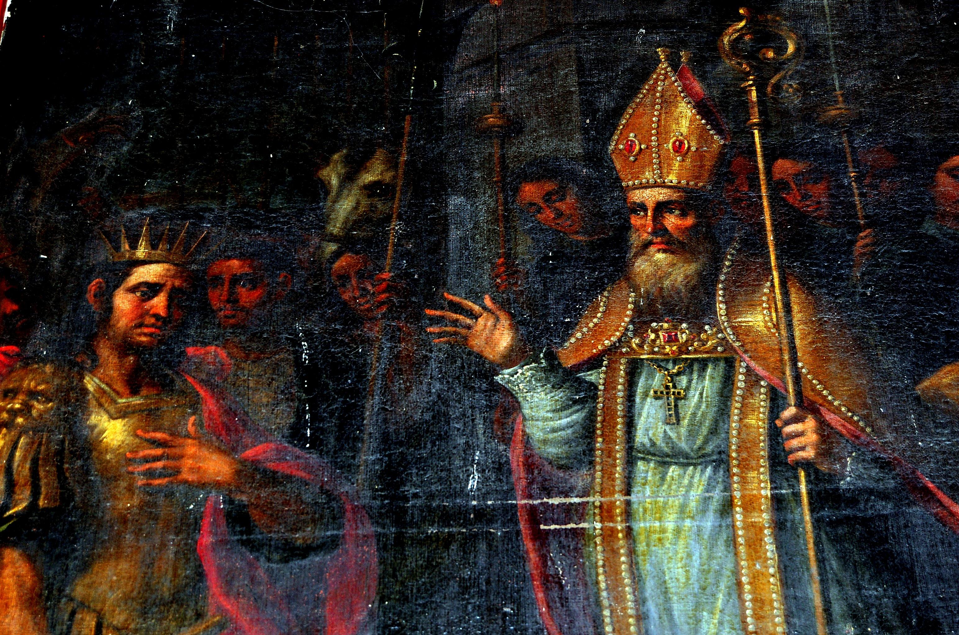 Cubillos del Sil. Pinturas de Alonso del Arco (s. XVII). San Lope contiene a Atila ante la ciudad de Troyes.