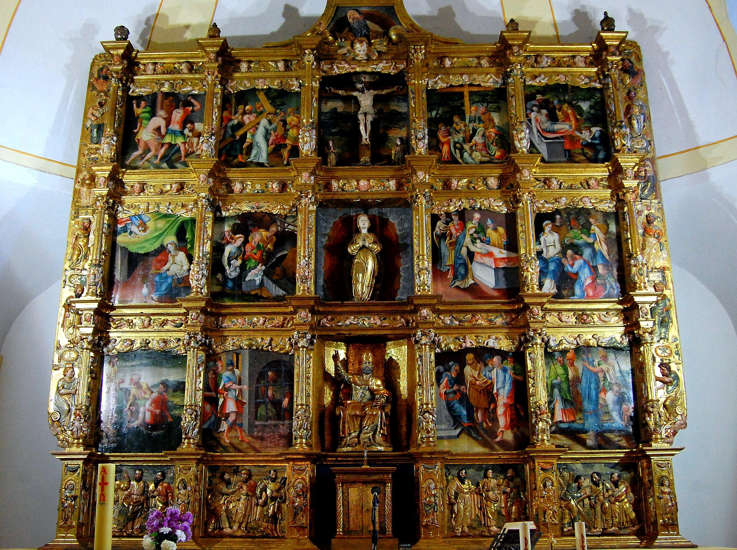 Vallecillo. Retablo con pinturas del nacimiento, infancia y pasión de Cristo. (Foto David Gustavo López)