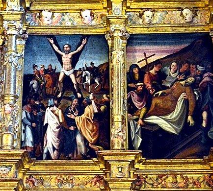 Valdescapa. Detalle del retablo. Martirio de San Andrés.