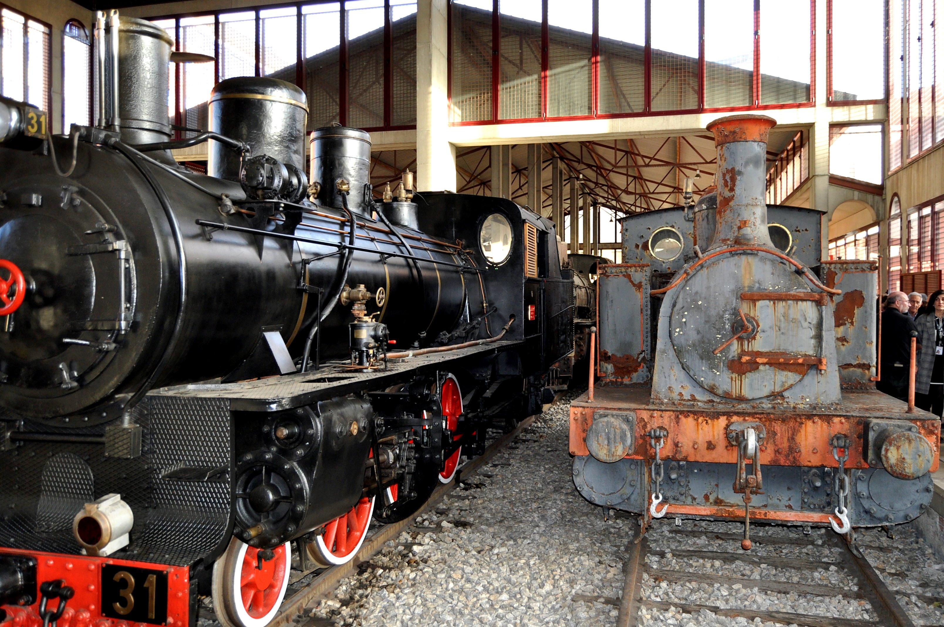 Museo del Ferrocarril de Ponferrada. Antiguas locomotoras del Ponfeblino.