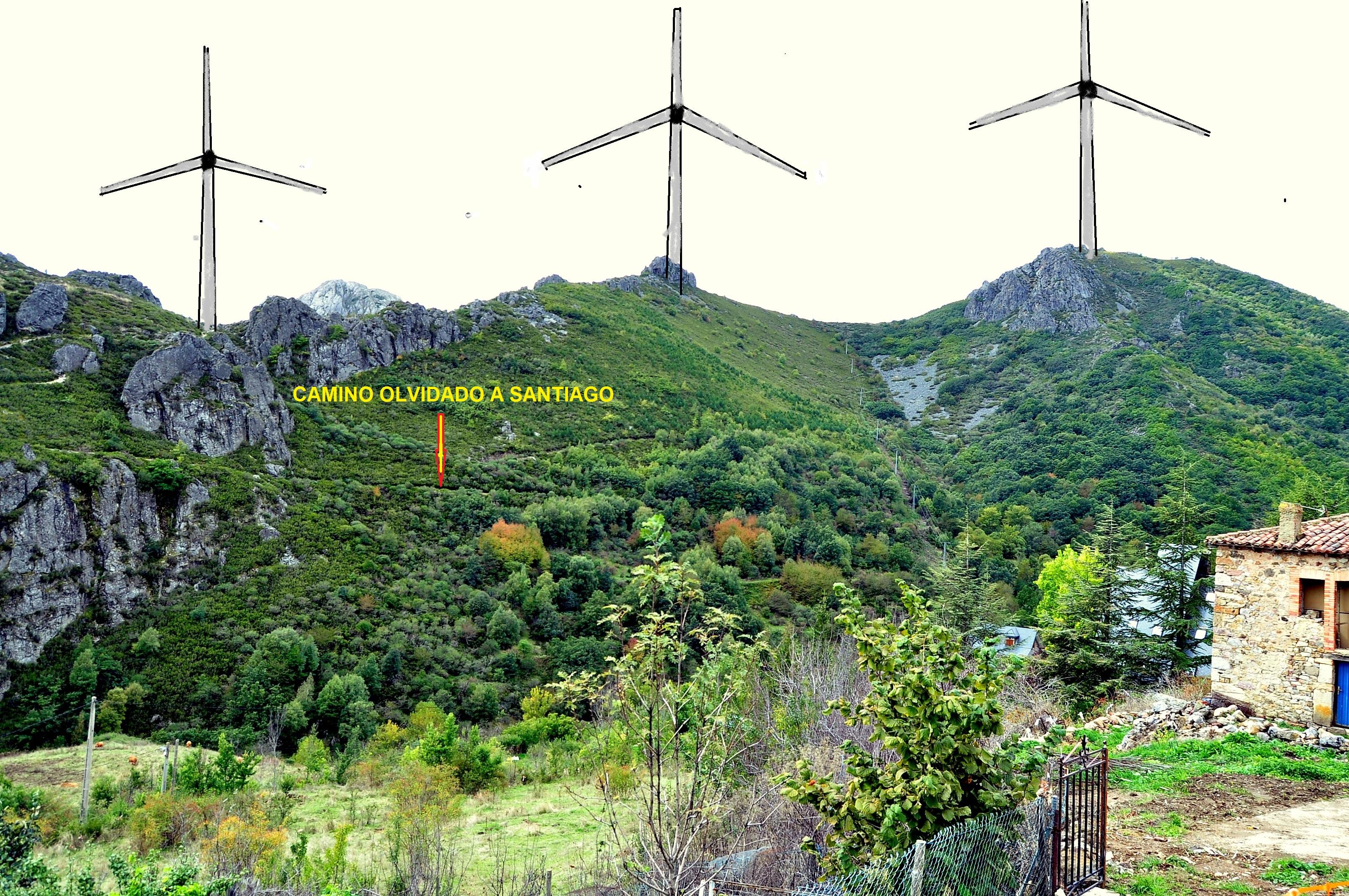 Desde Valdorria. Impacto de aerogeneradores sobre paisaje y Camino Olvidado (Foto David Gustavo López).